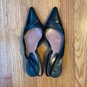 AT LOFT black leather kitten heel sling backs